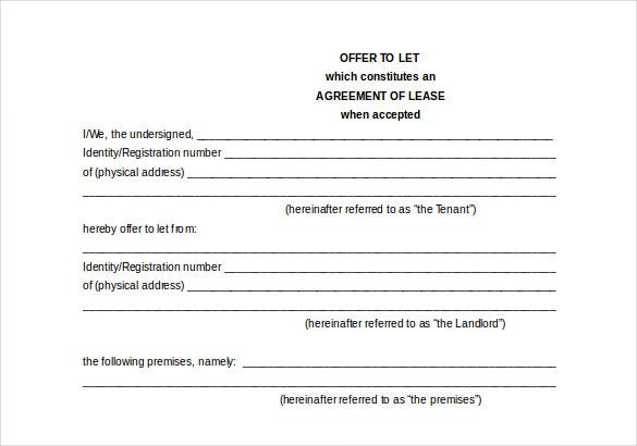 property lease agreement template free word