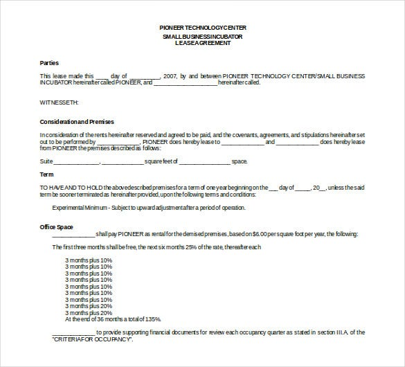 business rental free download word agreement template