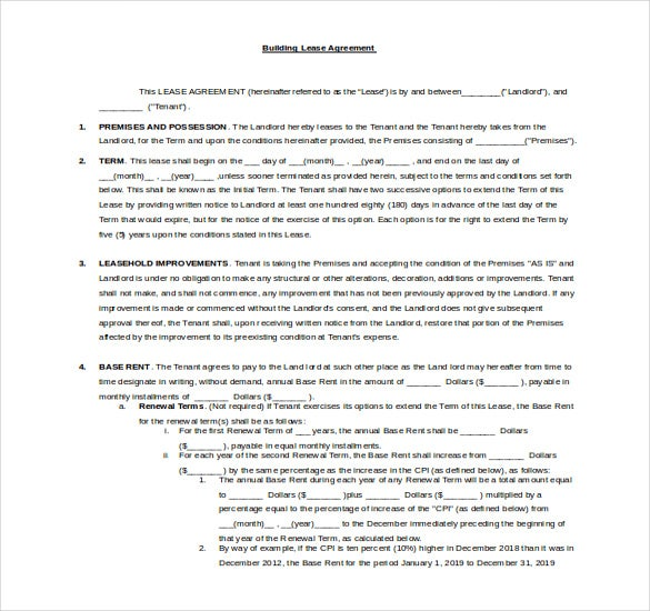 free word building rental agreement template
