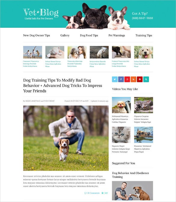 animal pet blog php website template