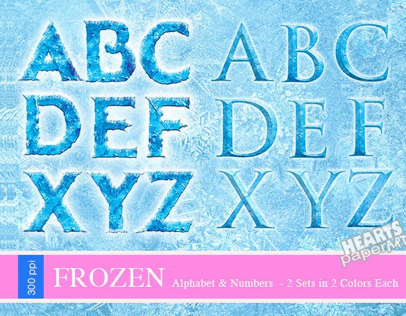 blue set and pink set digital snow font