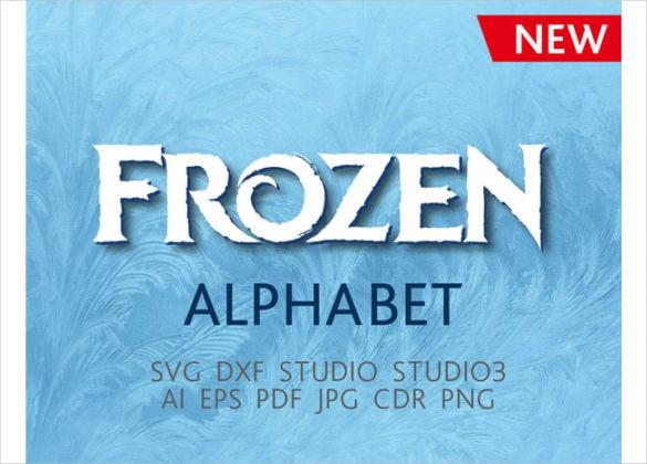 frozen font vector download