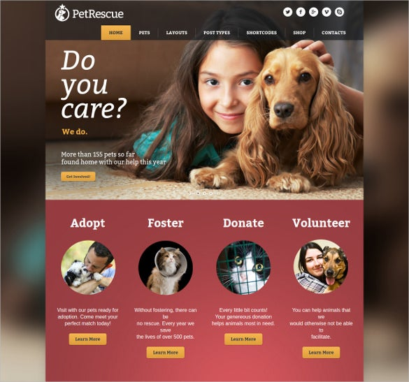 pet animals shelter charity wp php theme