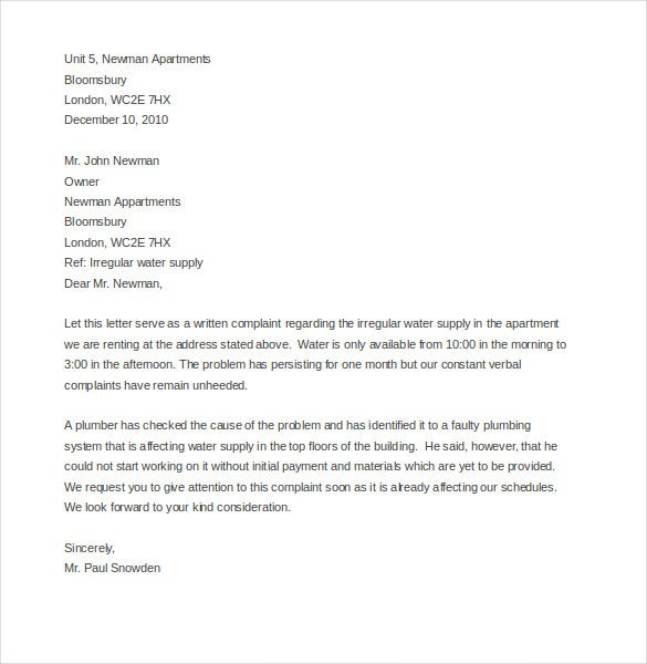 Exceptional Sampleletters.org.uk | This Sample Letter Template Can Be Used To  Communicate A Complaint To The Landlord If You Have A Problem With Water  Supply. Regarding Example Of A Letter