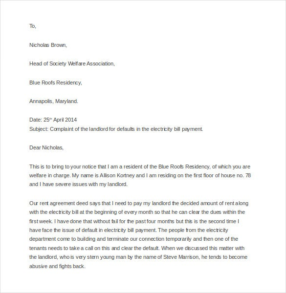 12 complaint letter to landlord free sample example format fee download complaint letter to landlord yelopaper Gallery