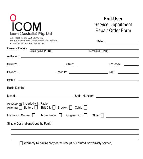 Sample Service Forms Electronic Device Repair Order Form Example
