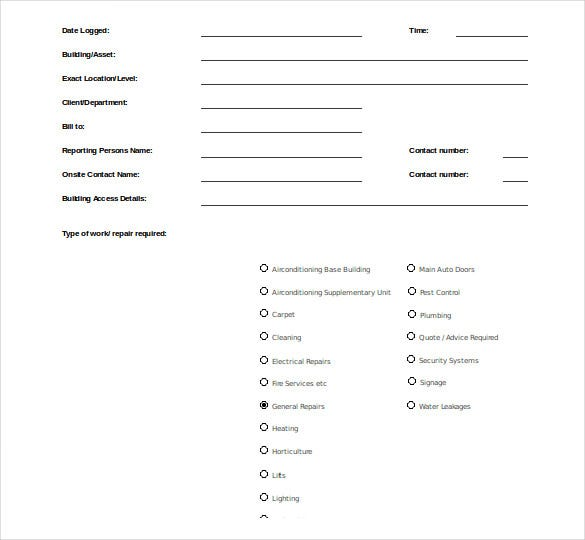 work order request form free download1