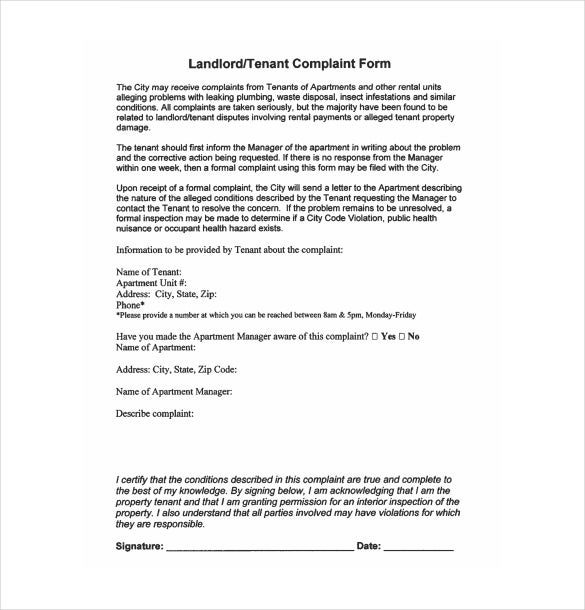 sample landlord complaint form free download