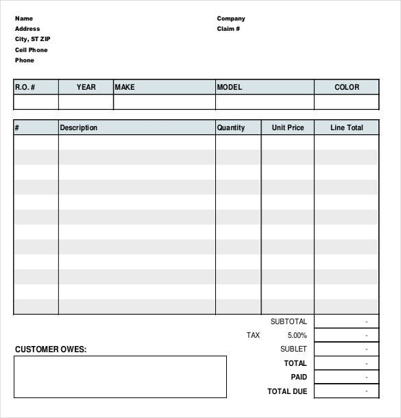 auto repair invoice template sample format download