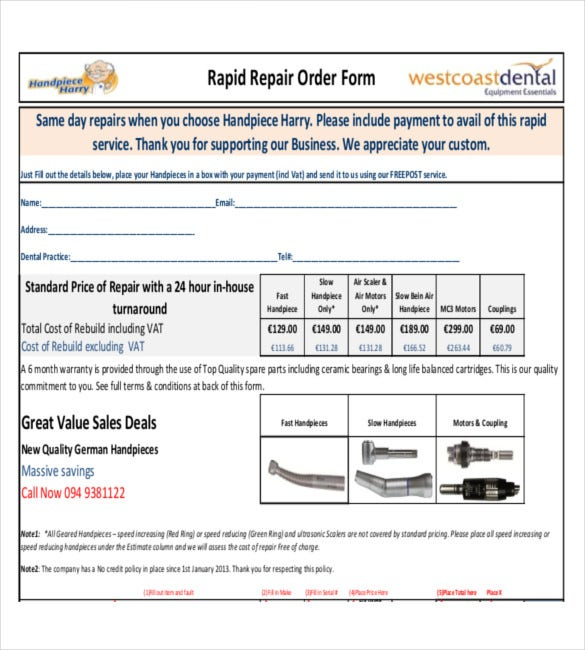 sample example template for rapid repair order form