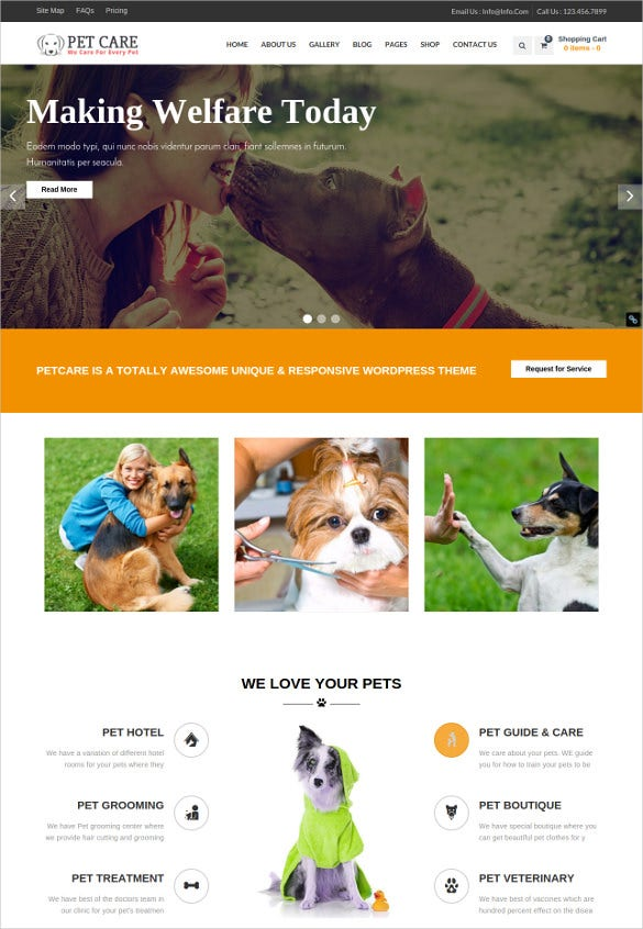 animal pet care wordpress multipurpose php theme