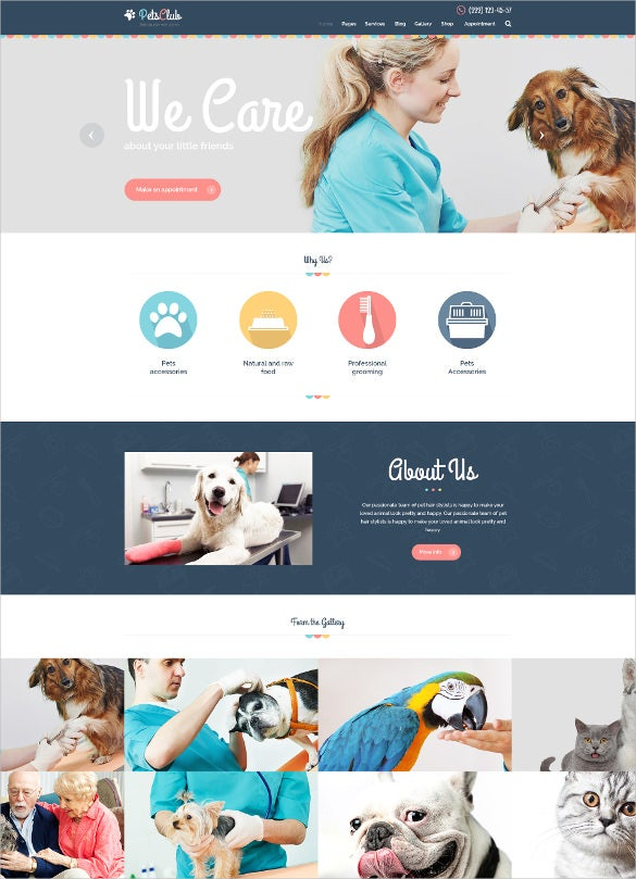 animal pet care shop veterinary php theme