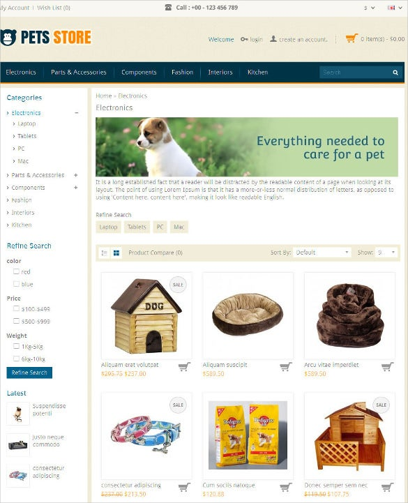 animal pet store opencart responsive php theme