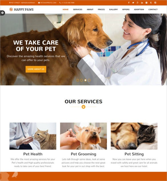animal pet responsive one page html php theme