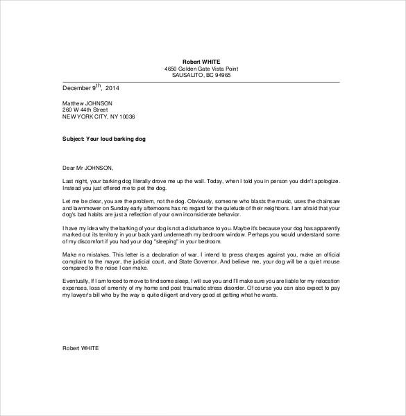 10 funny complaint letter templates free sample example format niceletter with this sample letter of complaint anyone can now create a great and to the point complaints letter to the neighbour about the loud bark thecheapjerseys Image collections