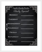 Family Dinner Weekly Menu Template Sample Download