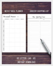 Meal Planner Printable Template Sample Download