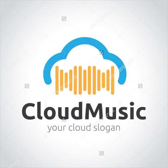 cloud music vector logo template