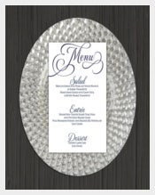 Printable Wedding Menu Template Sample Download