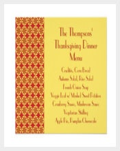 Classical Format Thanksgiving Dinner Menu Card Template Download