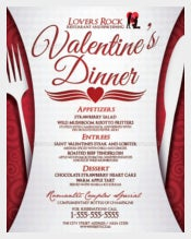 Example Valentine's Dinner Menu Template
