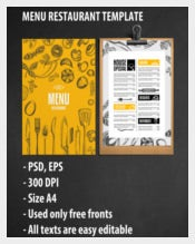 Design for Menu Template Sample Download