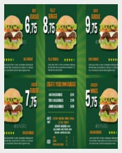 Sample Menu Design for Burger Template Download