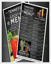 Cocktail Drinks Menu Vector EPS Format Download