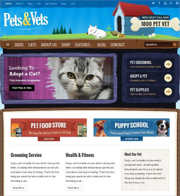 cute animal pets wordpress woocommerce website theme 59