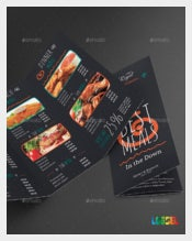 Restaurant Trifold Food Menu Vector EPS Format Download