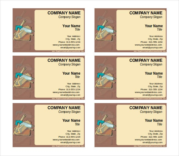 construction business card free word format download