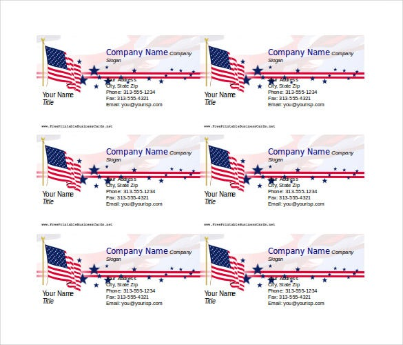 patriotic business card free word format download