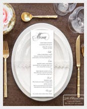 Example Printable Wedding Menu Card Template