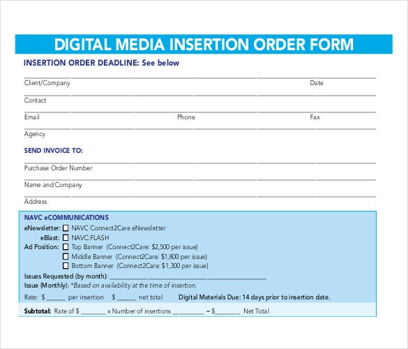 an example order template for digital media insertion