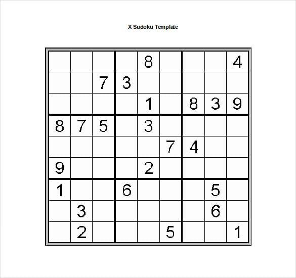 x sudoku template