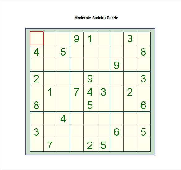 moderate sudoku puzzle