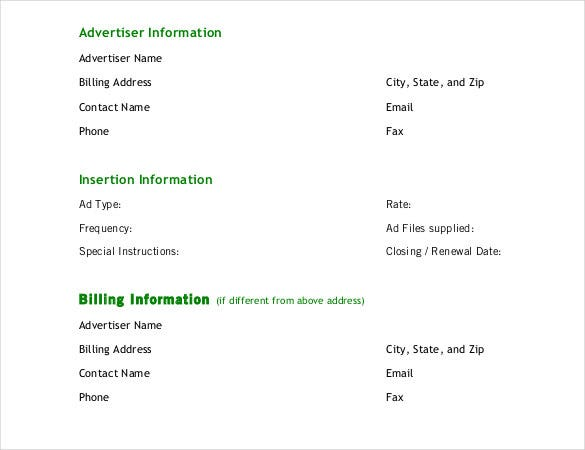 advertising insertion order form free pdf template1