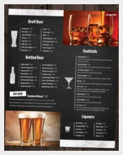 bar and lounge drink menu template sample download4
