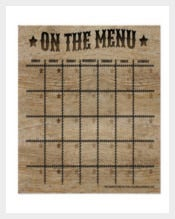 Ranch Style Monthly Menu Plan Poster Format Download