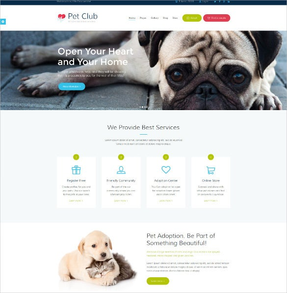 animal pets services adoption community website theme 59