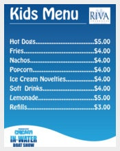 CIWBS Kids Menu Template Sample Download