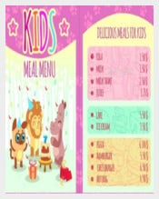 Kids Meal Menu With Animal Characters Template Sample Download