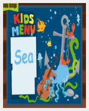 Kids Menu with Sea Cartoons Template Sample Download