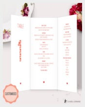 Example Trifold Stationery Menu Template