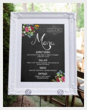 Example Wedding Menu Board Template Download