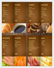 Crossini Bakery Menu Template Sample Download