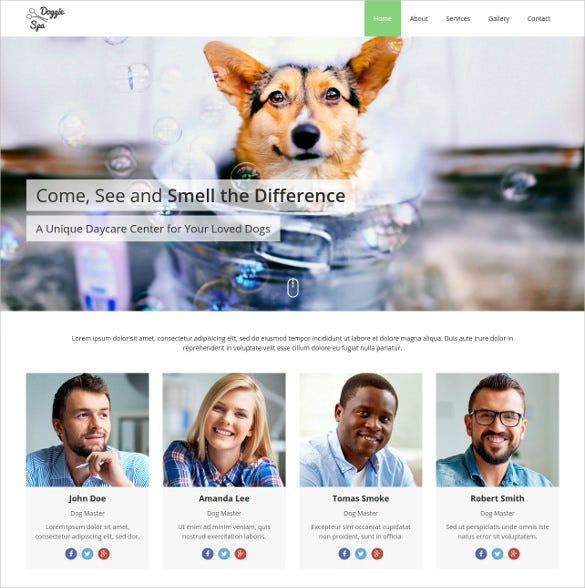animal pets grooming one page website template 15