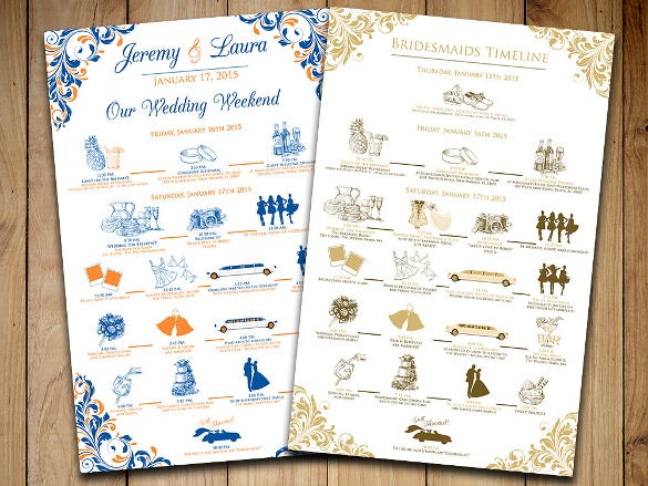 printable wedding itinerary template for download