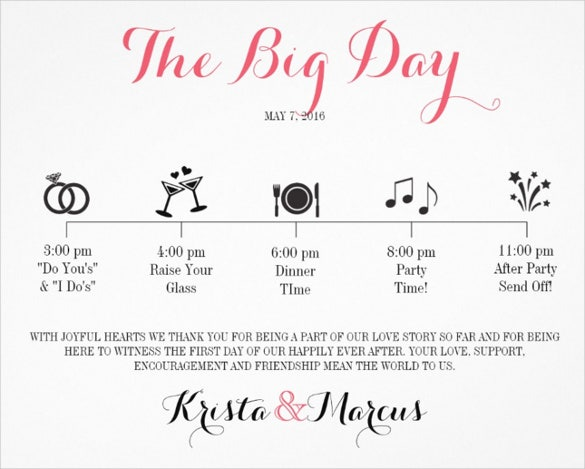 wedding day template
