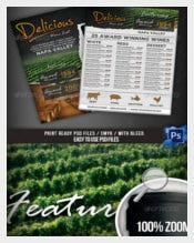 Wine List Menu Flyer Template Sample Download
